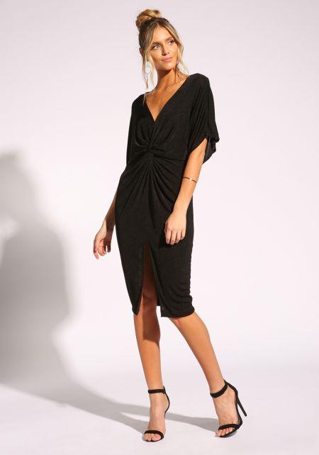 Black Twisted Slit Bodycon Dress