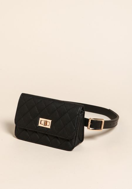 Black Quilted Leatherette Fanny Belt