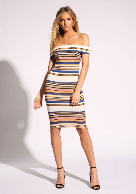 Multi Stripe Off Shoulder Bodycon Dress