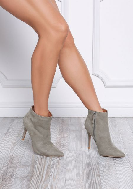 Khaki Suedette Pointed Toe Booties
