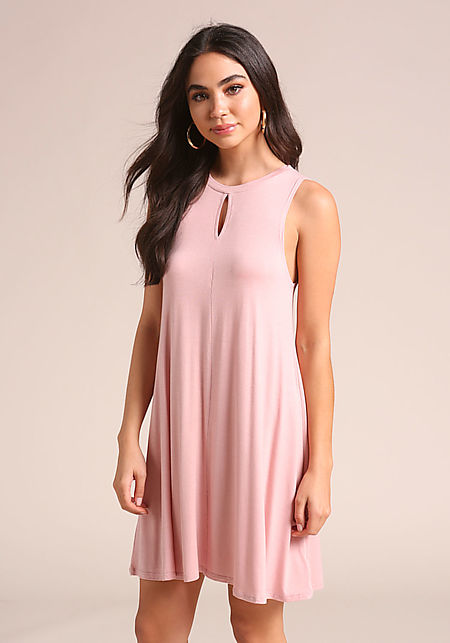 Dusty Pink Keyhole Jersey Knit Shift Dress