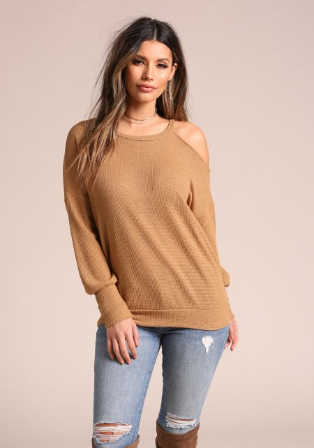 Mustard Shoulder Cut Out Sweater Top