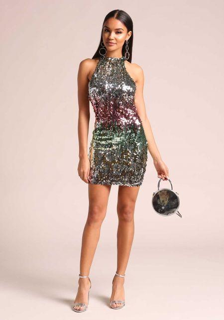 Multi Colored Sequin Bodycon Dress
