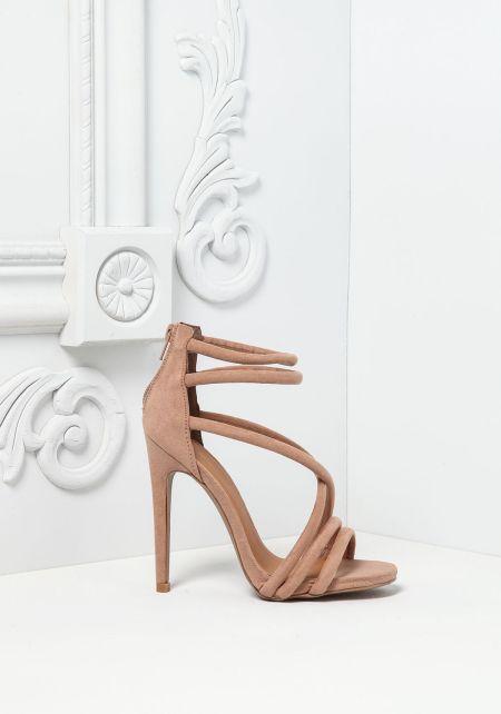 Taupe Suedette Multi Strap Heels