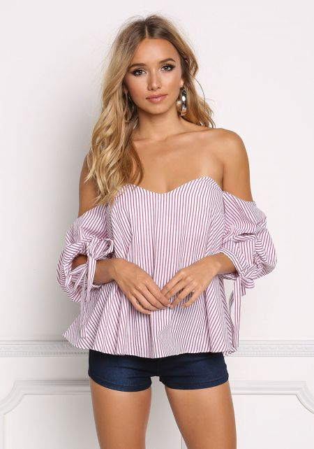 White and Red Pinstripe Sweetheart Off Shoulder Ru