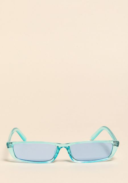 Blue Clear Skinny Rectangular Sunglasses