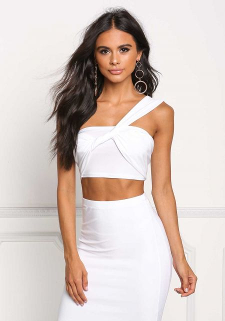 White Twisted One Shoulder Crop Top