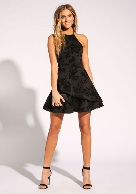 Black Cross Strap Floral Velour Flared Dress