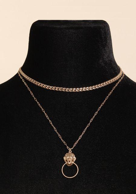 Gold Lion Pendant Double Chain Necklace