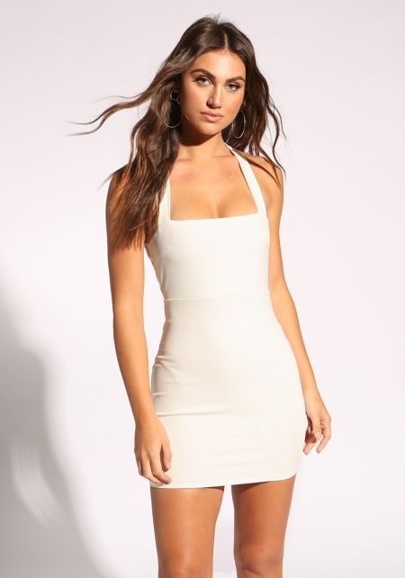 White Back Cross Strap Bodycon Dress