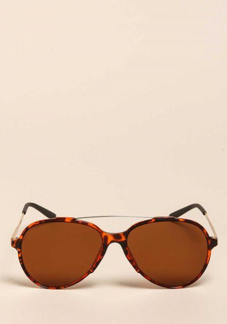 Brown Aviator Bar Sunglasses