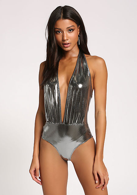 Silver Metallic Plunge Halter Bodysuit