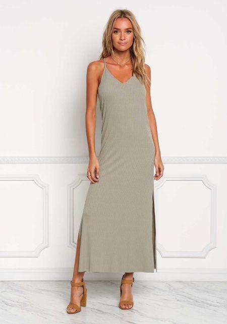 Light Olive Ribbed Knit Slit Maxi Dress