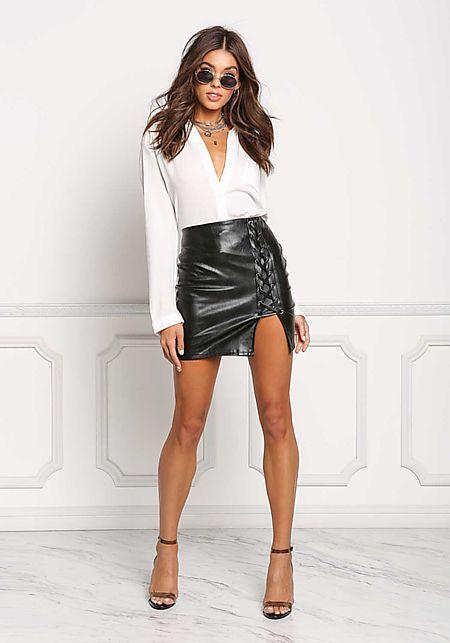 Black Leatherette Side Lace Up Mini Skirt