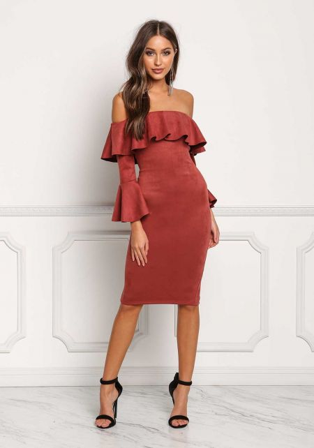 Brick Suedette Off Shoulder Ruffle Bodycon Dress