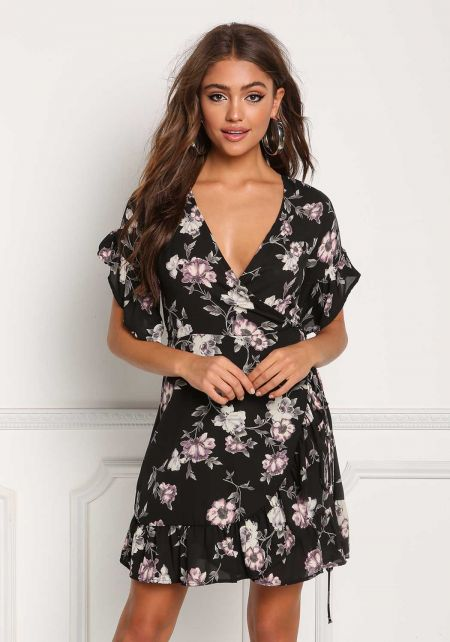 Black Floral Wrap Ruffle Flared Dress