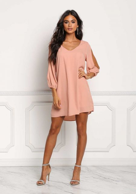 Deep Peach Chiffon Sleeve Slit Shift Dress