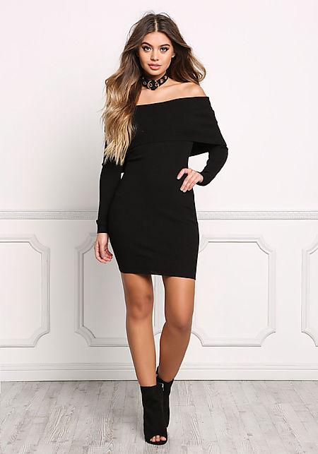 Black Cowl Neck Off Shoulder Bodycon Dress