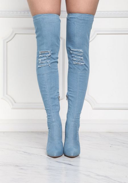 Light Denim Pointed Over The Knee Boots