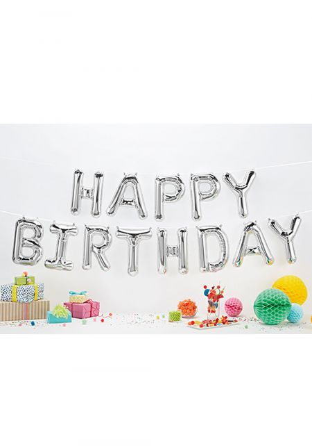 Silver Happy Birthday Foil Balloon Banner