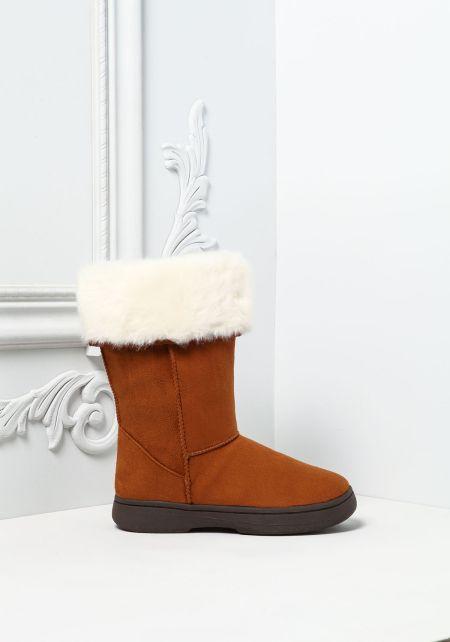 Chestnut Faux Fur Trim Suedette Boots
