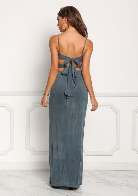 Teal Crepe Double Tie Back Plunge Maxi Dress