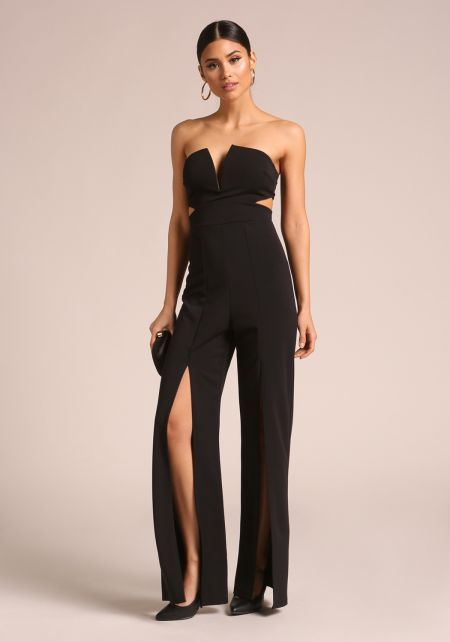 Black Strapless High Slit Jumpsuit