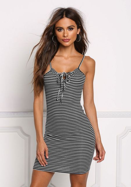 Black Stripe Lace Up Bodycon Dress