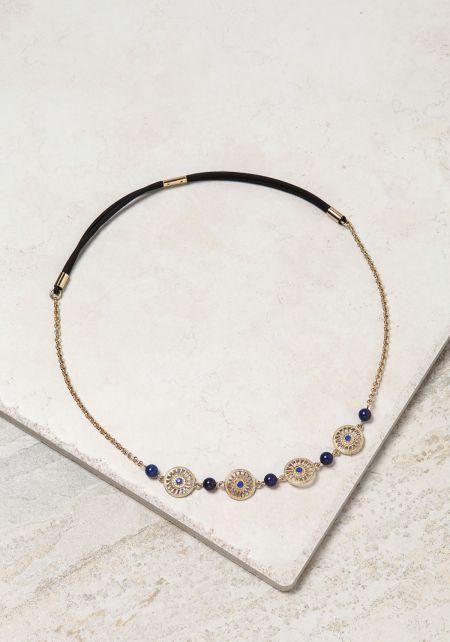Blue Beaded Wheel Headband