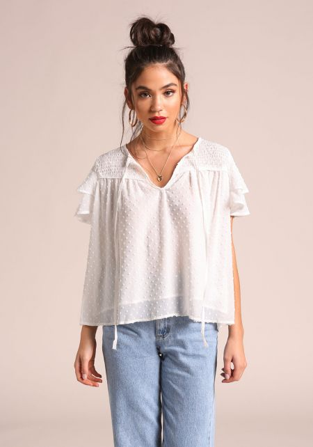 Ivory Smocked Tiered Sleeve Blouse