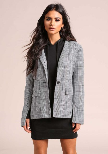 Grey Sleeve Slit Houndstooth Blazer