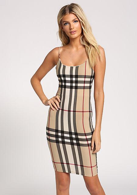 Khaki Plaid Cami Bodycon Dress