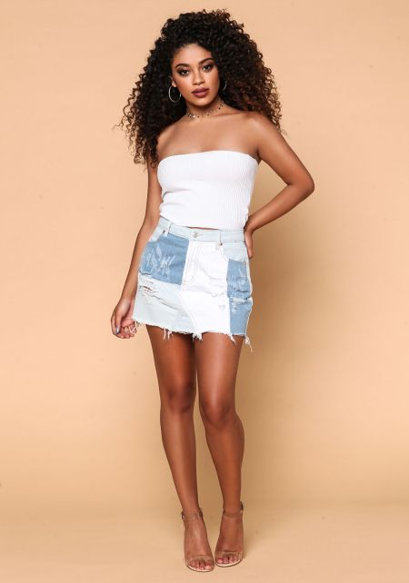 Light Denim Multi Patch Frayed Skirt