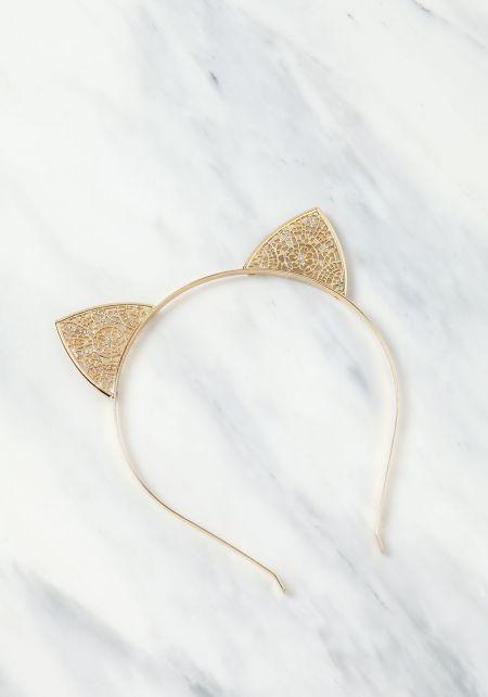 Gold Metal Lace Cat Ears Headband