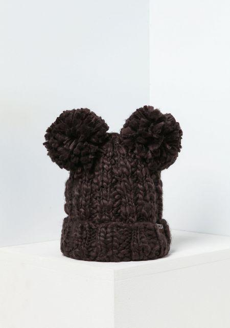 Charcoal Chunky Knit Pom Pom Beanie
