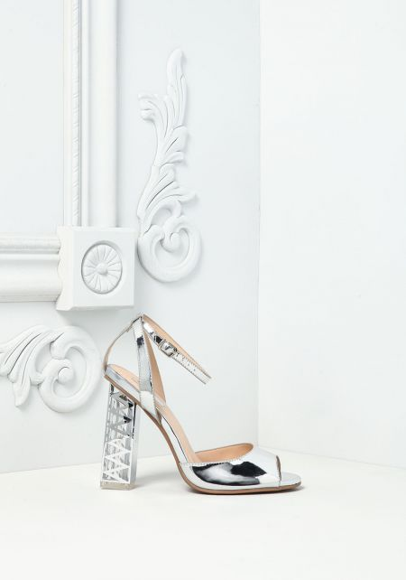 Silver Chrome Peep Toe Heels