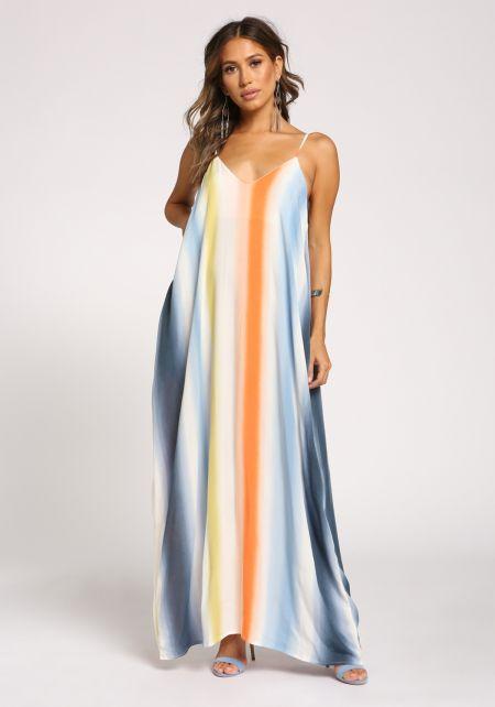 Orange Tie Dye Stripe Pocket Maxi Dress