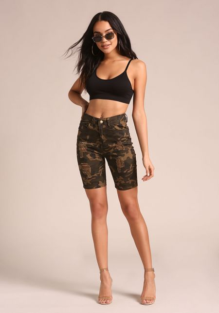 Camouflage Distressed Denim Bermuda Shorts