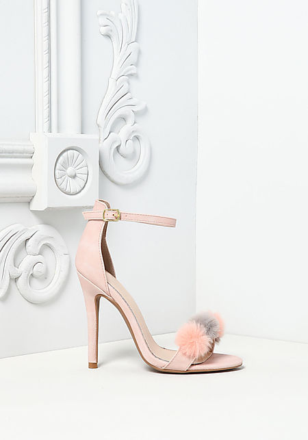 Blush Leatherette Pom Pom Ankle Strap Heels