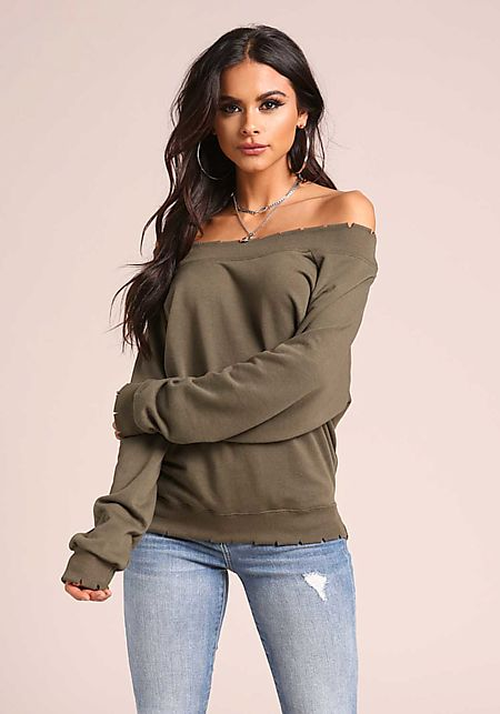 Olive Off Shoulder Slit Sweater Top