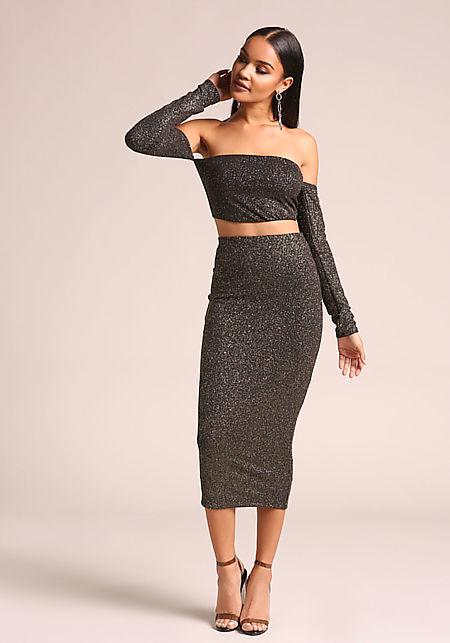 Gold and Black Sparkled Midi Skirt