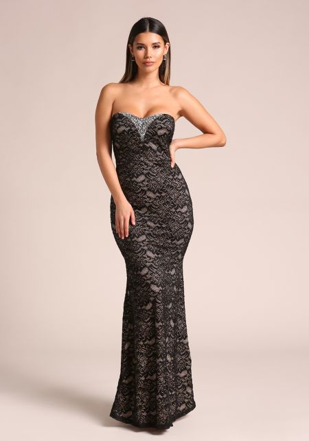 Black Rhinestone Floral Lace Strapless Maxi Gown