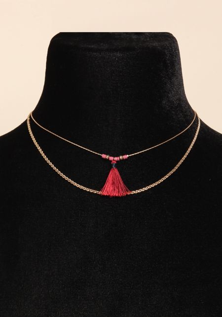 Burgundy Tassel Delicate Layered Necklace