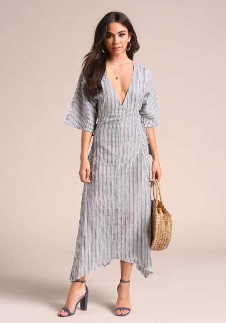 Navy Pinstripe Low V Bell Sleeve Midi Dress