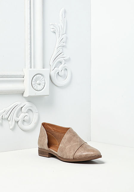 Taupe Leatherette Side Cut Out Flats
