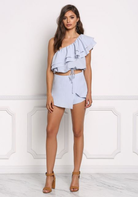 Blue Surplice High Rise Skort
