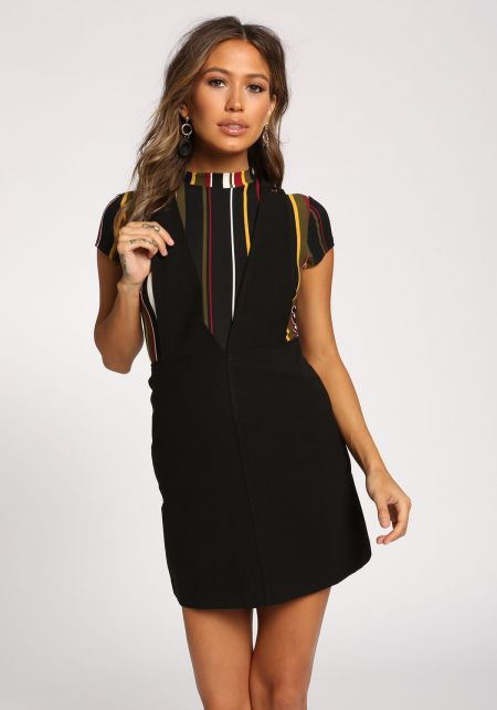 Black A-Line Overalls Dress