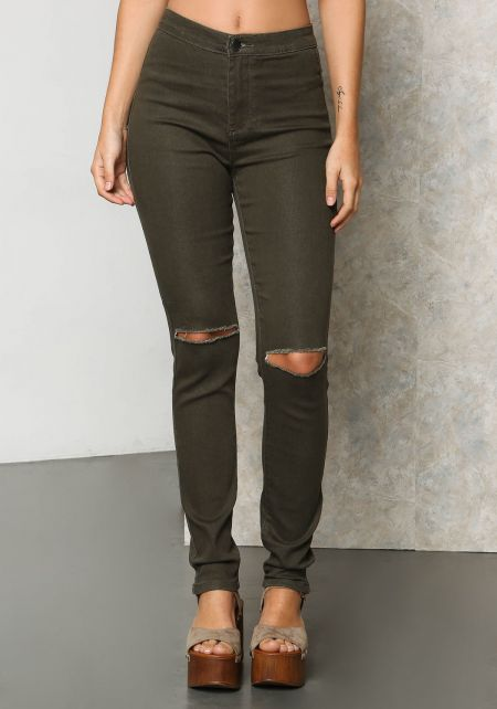 Olive Distressed Knee High Rise Jeans
