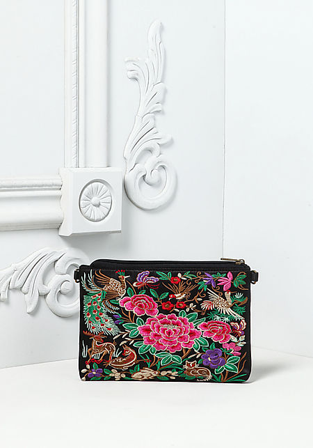 Black Floral Embroidered Crossbody Bag