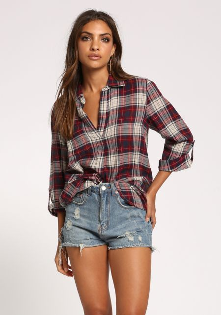 Red Plaid Collared Hi-Lo Blouse